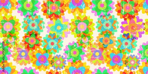 Deurstickers Pop Art Retro pop art springtime flowers, seamless pattern background