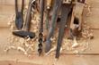 Ahşap ve eski marangoz aletleri - 190663538