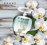 Perfume bottle Vector realistic mock up. Delicate orchid flowers fragrance. Product packaging 3d designs illustration