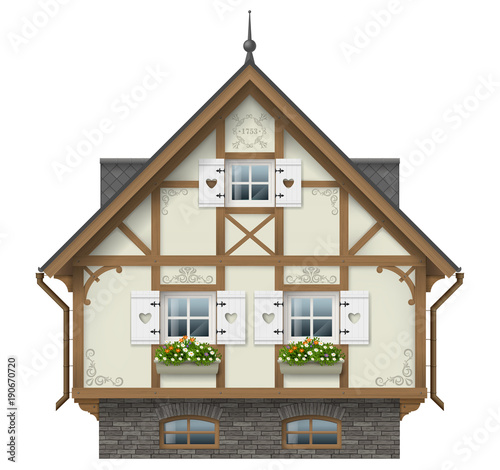 Tuinposter Wit Classic half timbered house. German traditional architecture. Fabulous hut. Vector graphics. Alpine chalet.