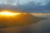 Aerial view of Mount Liamuiga on the volcanic Caribbean island of St Kitts at sunset