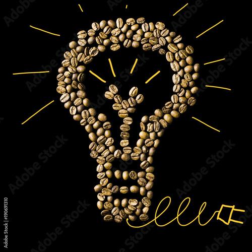 Papiers peints Café en grains A light bulb made from coffee beans. Concept