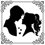 Silhouette of young loving couple with romantic framed