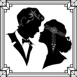 Silhouette of couple in retro style isolated on white background.