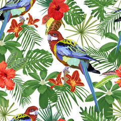 Parrot, red flowers and tropical leaves. Seamless vector pattern.