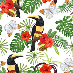 Hibiscus flowers, butterflies, tropical leaves and Toucan birds. Seamless pattern.