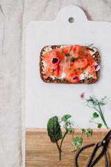 Danish open sandwich on ryebread with salmon
