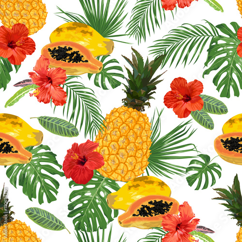 Pineapple, papaya, hibiscus and tropical leaves. Seamless pattern.
