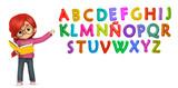 Profesora enseñando las letras de colores - 190695156