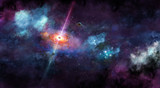 Space illustration with cosmic glow and swirl and planets