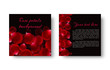 Quadro Template greeting card with red flower petals.