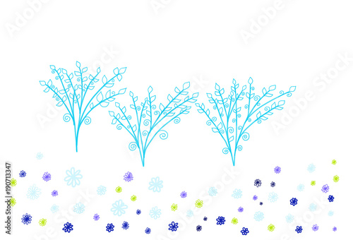 Colorful hand drawn abstract view of blue trees and flowers on white background, isolated cartoon illustration of spring trees painted by pen, high quality © Iryna