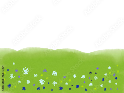 Colorful hand drawn abstract view of field with flowers on white and green background as grass, cartoon illustration of spring trees painted by watercolor and pen, high quality © Iryna