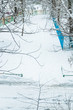 Winter in Moscow. Snow covered trees in the city. The view from the window after a heavy snowfall.