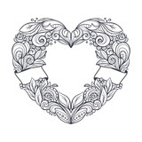 Ornamental wreath in a shape of a heart. Clean uncoloured lineart. Tatto design. Hand drawn vector graphics illustration.  - 190725303
