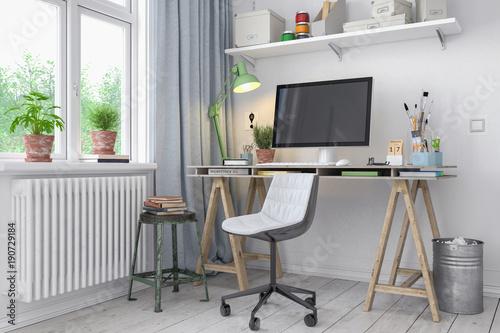 Skandinavisches, nordisches Arbeitszimmer mit einem Schreibtisch - Home Office - Büro - Heimarbeit