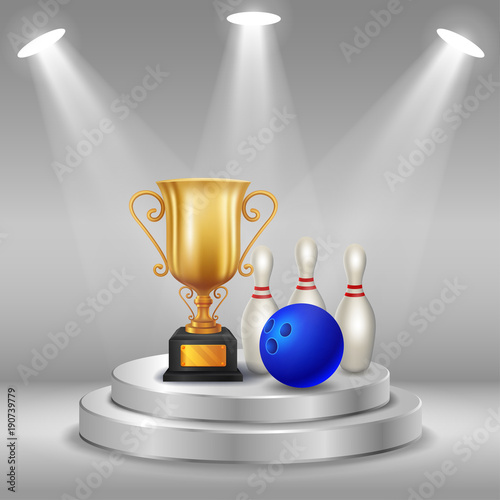 Foto op Canvas Bol Realistic trophy, bowling and ball with Winner background. First place of competition. Podium with spotlights