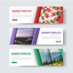 Set of vector white horizontal web banners with diagonal stripes and place for photo