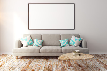 Contemporary living room with empty banner