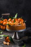 clementines polenta cake, dark background
