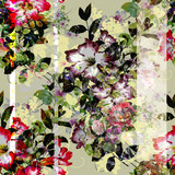 Watercolor painting of leaf and flowers, seamless pattern - 190753376