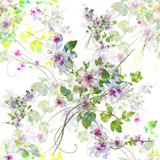 Watercolor painting of leaf and flowers, seamless pattern on white background - 190753382