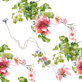 Watercolor painting of leaf and flowers, seamless pattern on white background - 190753390