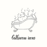 Vintage hand drawn bathtub with lather in a sketch style. Hand made lettering. Vector objects from the bathroom.  - 190754356