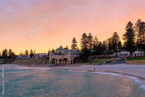 Stunning pick and purple sunrise over Cottesloe Beach Western Australia