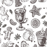 Seamless decorative pattern with winter treats - gingerbread, warming drinks, tangerines, spices. Hand drawn Christmas and New Year's elements. perfect for design wrapping paper. Vector illustration. - 190758338