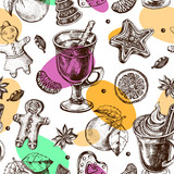 Seamless decorative pattern with winter treats - gingerbread, warming drinks, tangerines, spices. Hand drawn Christmas and New Year's elements. perfect for design wrapping paper. Vector illustration. - 190758391