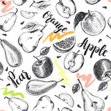 Decorative seamless pattern with Ink hand drawn apples, oranges, pears. ripe fruit texture. Vector illustration. - 190758581