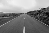 Empty roads in the countryside on the island of Flores in the Azores, Portugal - 190761399