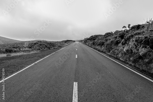 Empty roads in the countryside on the island of Flores in the Azores, Portugal