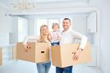 A happy family moves...