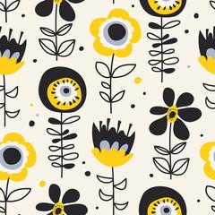 seamless pattern with hand drawn flowers © orangeberry