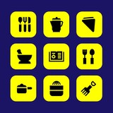 Kitchen vector icon set. pot, squeezer, recipe and cutlery - 190764713