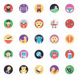 Baby and Kids Flat Vector Icons Set