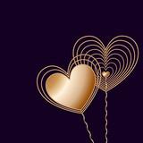 Two golden wire hearts on dark background - 190769795