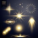 Fototapety lens flares transparent light effect sparkles design