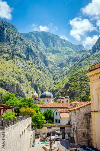 Beautiful narrow streets of old town Kotor, Montenegro.
