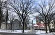Piazza di Quebec con neve ed albero spogli, Québec, Canada