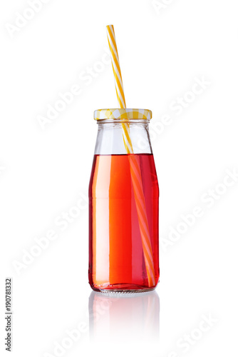 Fotobehang Sap bottle of juice with straw isolated