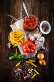 Spaghetti sauce on wooden background - 190785770