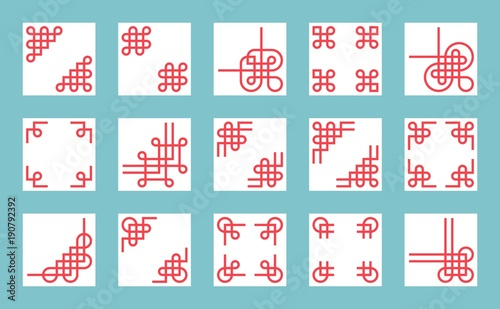chinese knots border and frame for use in greeting card poster or chinese new