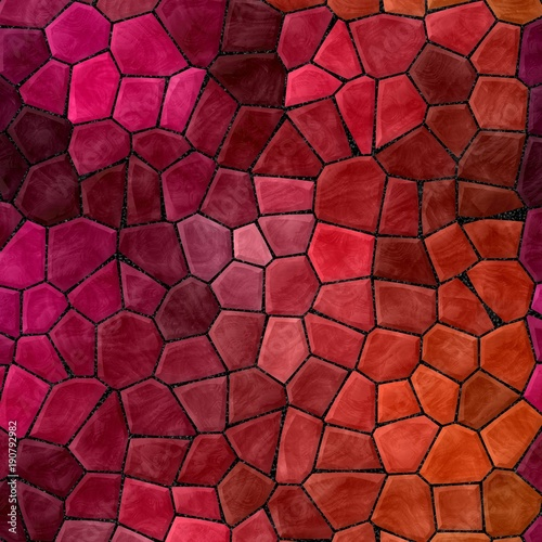 abstract nature marble plastic stony mosaic tiles texture background with black grout - vivid red pink purple orange colors