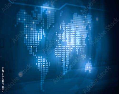 Aluminium Wereldkaarten dotted world map business background