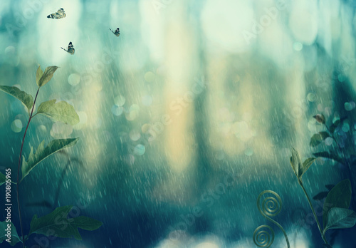 Butterflies and plants in a mystical woods in rain