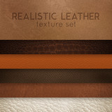 Fototapety Leather Texture Realistic Samples Set