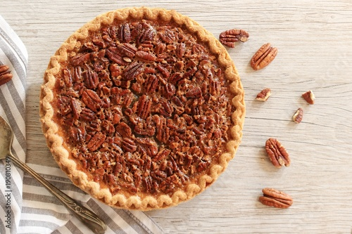 Sticker Overhead view og Pecan Pie / Pi day concept